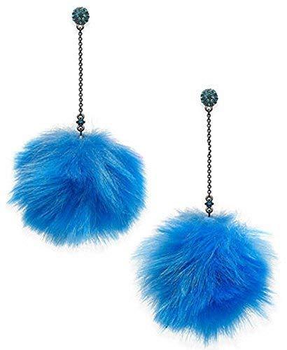 Betsey Johnson Faux-Fur Pom Pom Earrings Blue Dangle Earrings Trolls Betsey Johnson Faux Earrings