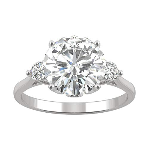 14K White Gold Forever Brilliant 9mm Three Stone Engagement Ring- size 9, 2.90cttw DEW by Charles & Colvard