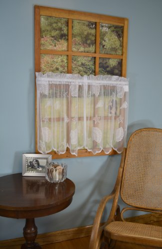 Curtain Chic Seashells Lace Tiers, 36-Inch, - Lace Tiers Curtain