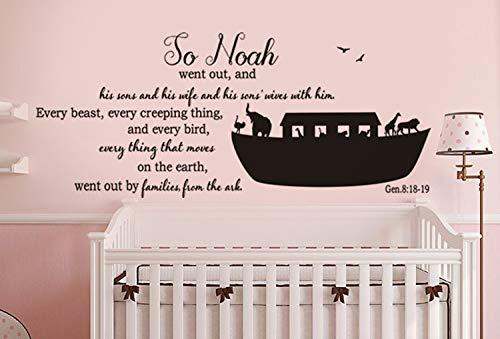 Wall Home Decal Vinyl Sticker Art Genesis 8:18-19 - Noah's Ark for Living Room Bedroom Nursery -