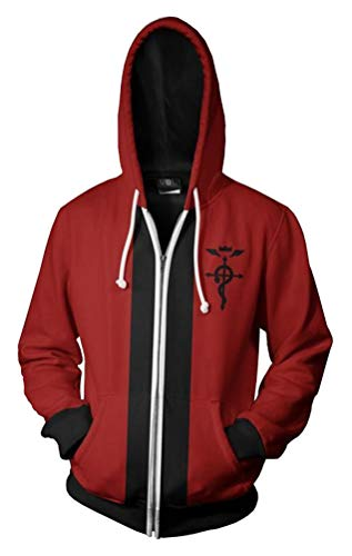 Dawn BG Fullmetal Alchemist Jacket Edward Elric Hoodie Sweatshirt Cosplay Costume (Red, XL) ()
