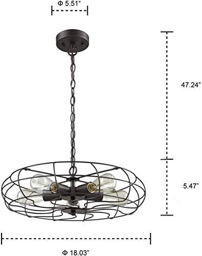 BJClight Classic Lighting Industrial Chain Hanging Pendant Light Chandelier, 5-Light Oil Rubbed Bronze Kitchen Island Pendant Lights for Kitchen/Bedroom/Bar/Living Room