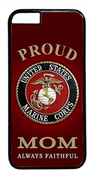 USMC Marines Marine Corps Proud Mom Black rubber Plastic Case Cover for iPhone 7 by Deal Market LLC (Tm)Ships from Florida and Guranteed delivery within 7 Business days