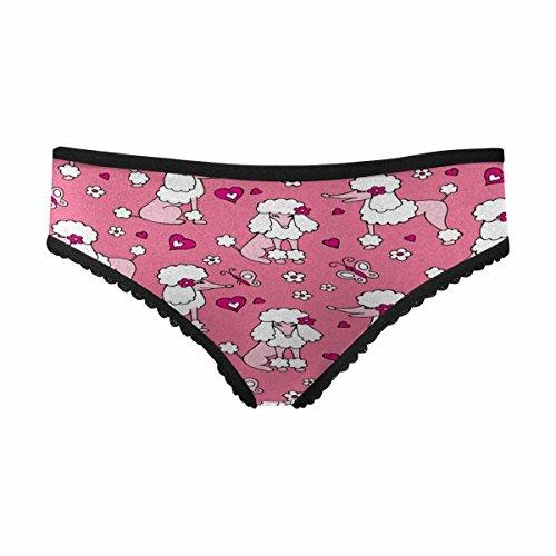 (INTERESTPRINT Women's Classic Brief Panties Underwear Dog Poodle Gray Pink M)
