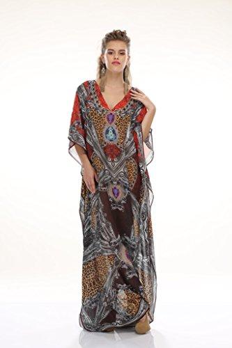 Da donna crespo stampato Turco kaftani caftano beachwear costumi da bagno del bikini Coprire Abito Spiaggia Mantello di D G PRINTS FAB (stile no. 0005)