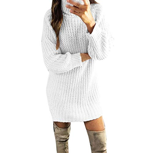 TIFENNY Women's Long Knit Sweater Dress Fall Casual Turtleneck Long Sleeve Solid Pullovers Sexy Mini Dress White