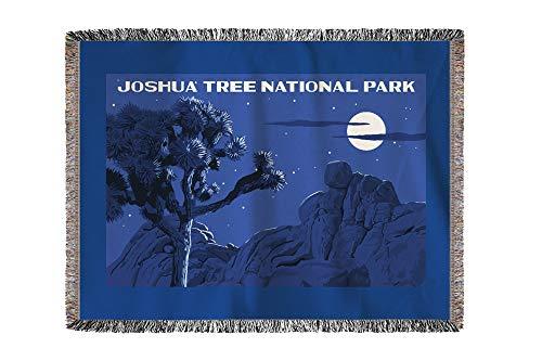 Lantern Press Joshua Tree National Park, California - Night Scene - WPA (60x80 Woven Chenille Yarn Blanket)