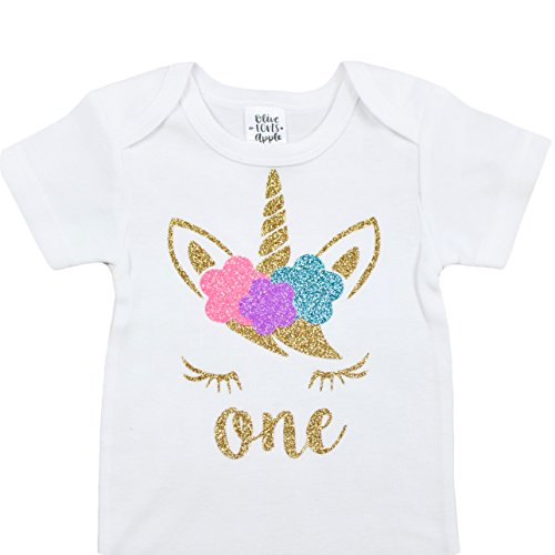 Unicorn One 1st Birthday Bodysuit Glitter Gold Pink Purple Blue Unicorn Face Outfit