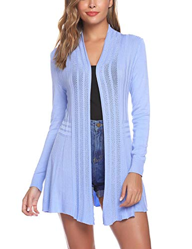 iClosam Womens Casual Long Sleeve Open Front Cardigan Sweater (#1Sky Blue, Large)