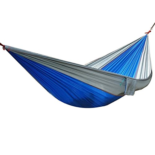 Udyr Camping Hammock, Lightweight Nylon Parachute Multifunctional Backpacking Bedroom XL Double Outdoor Floating Bed with Hanging Rope and Carabiners for Camping, Travel, Beach, Yard (Knits Butt)