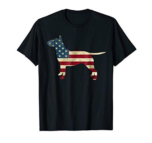 Mens English Bull Terrier Patriot Flag Dog shirts Large Black