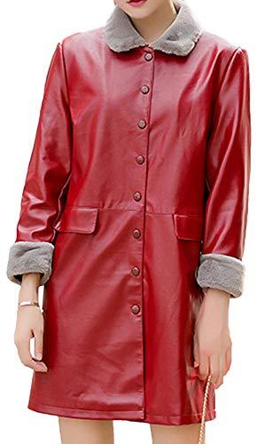 Slim Lungo E Moda A Chiusura Vestibilità Pu Bottoni Autunno Pelle Lunga Donna Giacca Inverno Risvolto Media Cappotto Rosso Snone Classico Trench Di Caldi 4pUYwACq