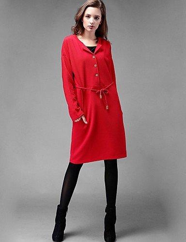 GSP-Damen Kleid - Übergrößen Übergröße / Leger Solide Übers Knie Elasthan V-Ausschnitt / Rundhalsausschnitt