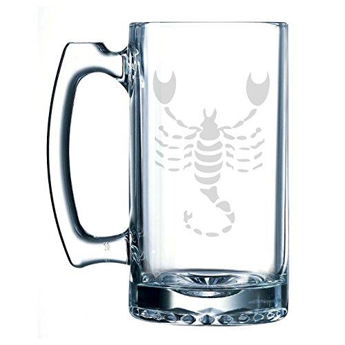 Stein History Beer (Scorpio Zodiac Symbol Silhouette 8th Sign Scorpion - 25 oz Glass Beer Stein)