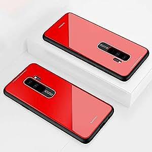 DYGG Compatible con Funda para Samsung Galaxy s9, Estuche Carcasa Forro Ultra Delgada TPU Parachoques, Trasera de Vidrio Templado - Rojo