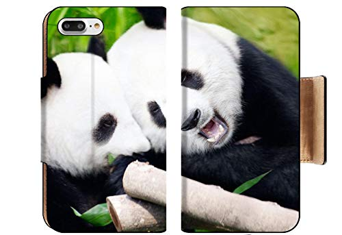 (Luxlady Premium Apple iPhone 8 Plus Flip Pu Wallet Case Couple of Cute Giant Pandas Eating Bamboo Shoots Image ID 5995324)