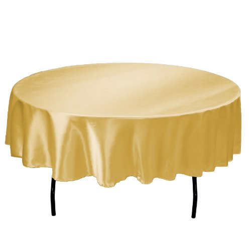 LinenTablecloth 70-Inch Round Satin Tablecloth (Gold Elegance Round Tablecloth)