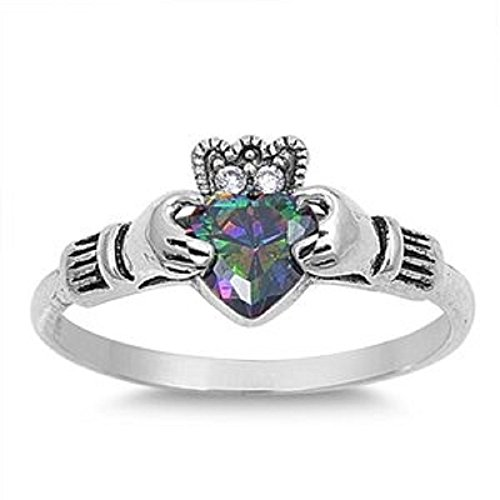 10MM Sterling Silver Simulated FIRE Mystic Rainbow Topaz HEART CZs Celtic Royal (Topaz Celtic Claddagh Ring)