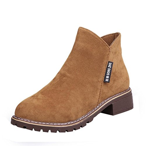 Kinrui Women's Ankle Boots,Low Heel Short Boots for Ladies,Trim Round Toe Ankle Leather Boots Casual Martin Shoes (Brown, US:6)