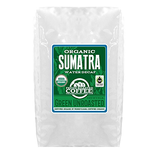 Green Unroasted Coffee, 5 Lb. Bag, Fresh Roasted Coffee LLC. (Sumatra Water Decaf FTO)