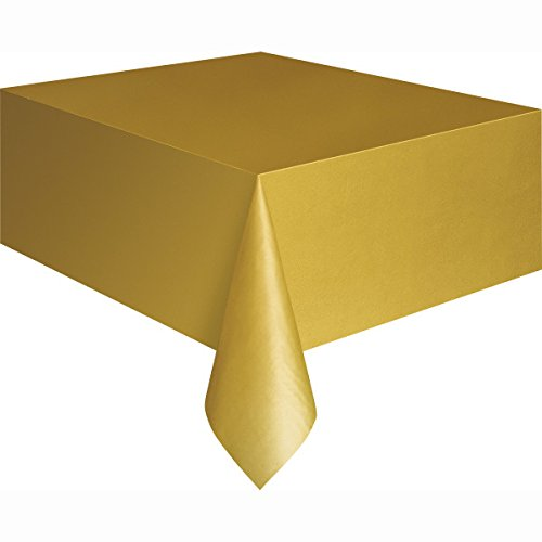 Gold Plastic Table Cover 54'' x 108'' Rectangle - 108' Tablecloth