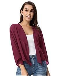 Kate Kasin Women Cardigans 3/4 Sleeve Sheer Shrug Cropped Bolero Cardigan