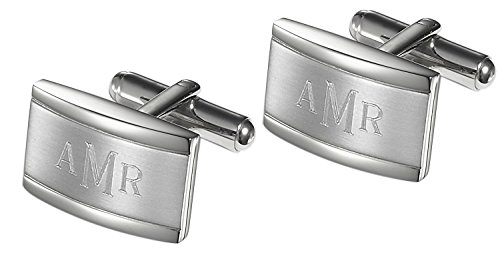 Personalized Cufflinks Engraved with Roman Monogram, Comes in Gift Box