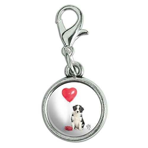 Graphics and More Border Collie Dog Heart Valentines Love Antiqued Bracelet Pendant Zipper Pull Charm with Lobster Clasp