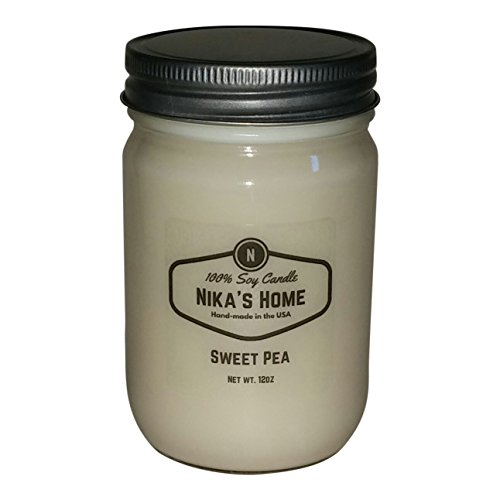 Nika's Home Sweet Pea Soy Candle - 12oz Mason Jar