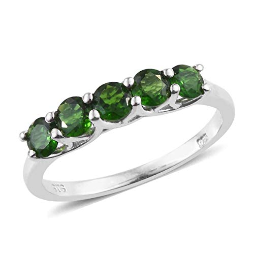 925 Sterling Silver Platinum Plated Round Chrome Diopside Statement Ring for Women Size 7 Cttw 1.2