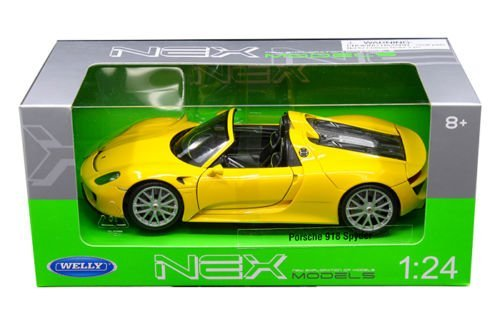 (Welly Collection 1:24 Porsche 918 Sypder with Dropped Top Diecast Model Sport Car,)