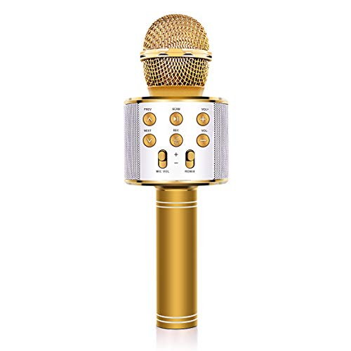 Fun Toys 8-12,Refasy Children Microphone for Kids Birthday Gift for 4-15 Year Old Girls Boys Wireless Bluetooth Karaoke Microphone Home Party Birthday Speaker Machine for Iphone/Android/Ipad/Song Gold