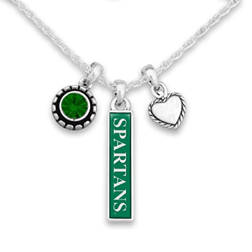 FTH Michigan State Spartans Triple Charm Necklace with Heart, Nameplate and Rhinestone Charms