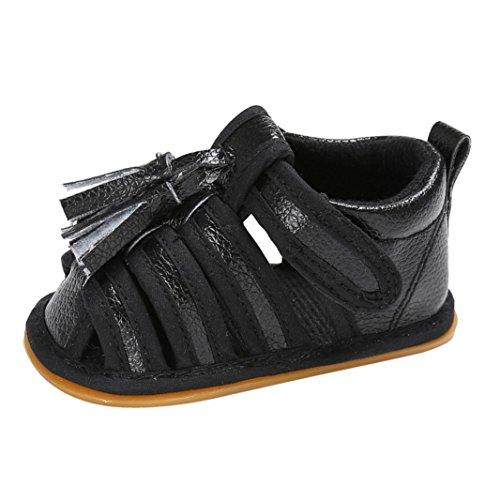 Hunpta Kleinkind Sommer Mädchen Jungen Krippe Troddel Schuhe Weiche alleinige Neugeborene Anti Rutsch Baby Turnschuh Sandelholze Schwarz