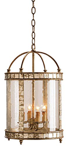 Currey and Company 9229 Corsica 4-Light Lantern, Harlow Silver Leaf Finish with Seeded Bent Glass and Antiqued Mirror Insets