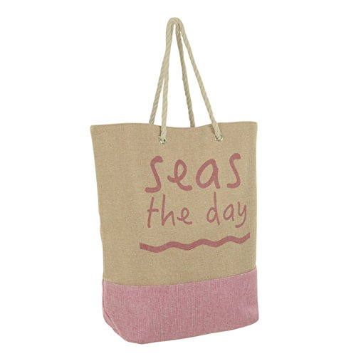 Bag Pocket Fully Jute Magnetic Phone Shopper LIned Fastener Rope Handles Lazy Canvas Pink Beach Large Style Wove Extra Holiday Clip 5Tnfawq