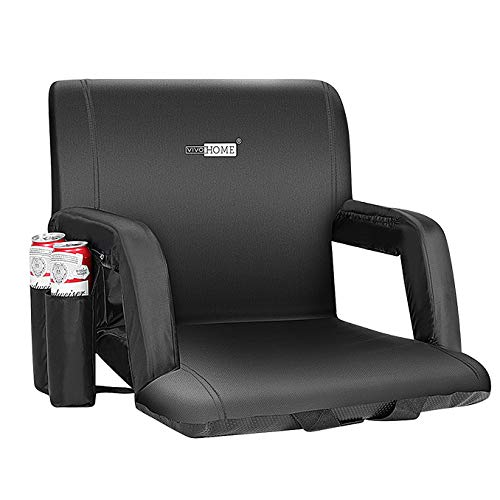 VIVOHOME Reclining Stadium Seat Chair for Bleachers with Padded Backrest and Adjustable Armrests, Two Pockets for Drinks, Standard Width 20 Inch