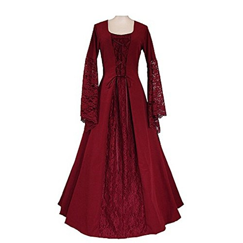 Red Renaissance Dress (Womens Renaissance Medieval Costume Lace Up Floor Length Gown Long Dress (XXL, red))