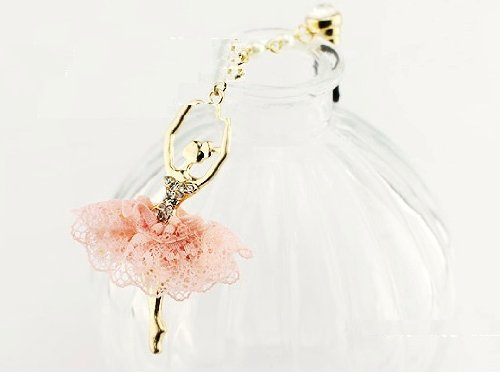 CJB Dust Plug / Earphone Jack Accessory Ballet Girl Pink Lace Dress for iPhone 4 4s S4 5 All Device with 3.5mm Jack (US Seller)