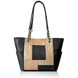 Calvin Klein Key Item Chain Patchwork Tote, Black Combo