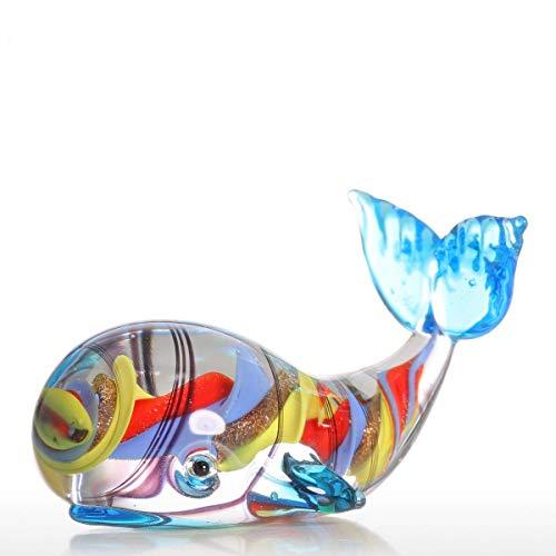 Betterhomeplus Glass Sculpture Mini Ocean Colorful Spiral Whale Handcraft Figurine Home Office Desk Art Craft Accessories Ornament Decor ()