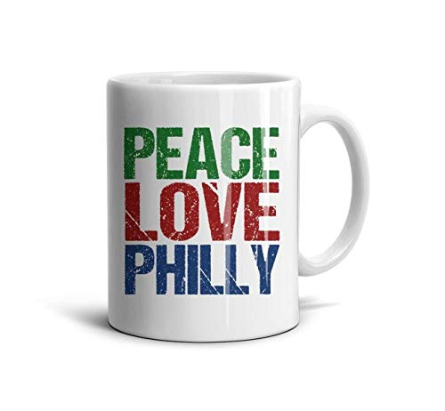 (SJKSDVHF White Cool CeramicOffice Mug Peace Love Philly Philadelphia Pride)