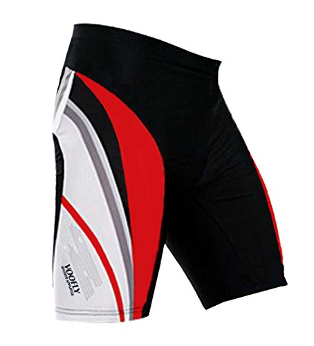 voofly Christmas Cycling Shorts for Cyclists Gel Padded Bike Biking Pants Spinning Tights Red ()