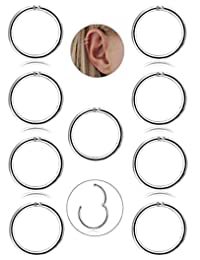 Subiceto 9 Pcs Stainless Steel 16g Cartilage Hoop Earrings for Men Women Nose Hoop Ring Helix Septum Conch Daith Lip Tragus Piercing Jewelry …