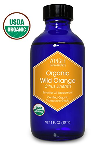 Zongle USDA Certified Organic Wild Orange Essential Oil, Safe to Ingest, Citrus Sinensis (1 Oz)