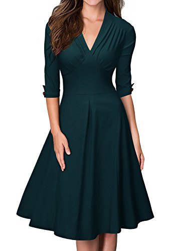 MIUSOL Damen Business retro 50er Jahre Kleid Rockabilly Stretch  Cocktailkleid B-grün 4b0RgXVz 803390e5cc