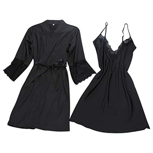 huoaoqiyegu - Women Sexy Lace Satin Chemise Nightgown/Straps and Deep V Neck/Sexy Underwear for Home Bedroom Black