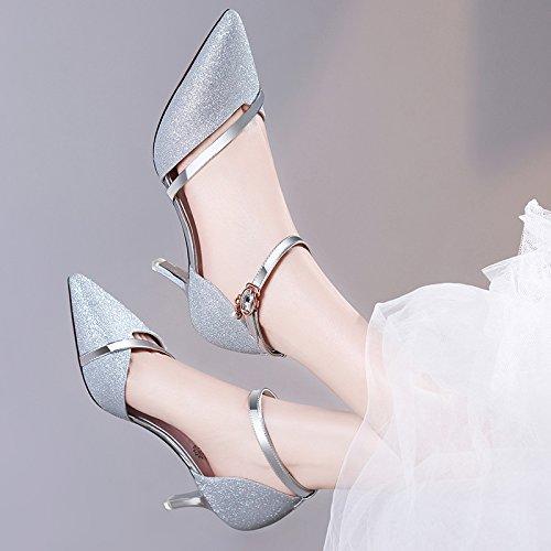 Zapatos VIVIOO primavera de tacón Sandalias tacón de Sandalias Silver de alto de mujeres de Zapatos verano Zapatos mujer de plateados Zapatos alto salvajes alto las alto de tacón tacón de OrTvq1OW