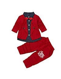 2pcs Kids Baby Boy Gentry Outfits Set Formal Party Christen Wedding Tuxedo Bow Suit