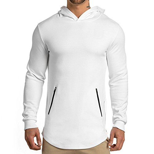 - EVERWORTH Men's Gym Workout Long Sleeve Hoodies Training Pullover Casual Hooded Sweatshirt White